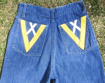 "Vintage 1970's High Waisted Denim Jeans w/Bright ""V"" & ""X"" Emblems on Back Pockets-Retro12"