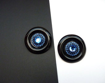 Vintage Designer Button Earrings with Sapphire Blue Crystals in Black Metal Setting Pierced 2 Inch Round Earrings