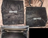 1950s 50s black velvet bow two sided purse Deco handbag Large clutch
