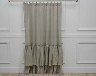 grey linen shower curtain. Organic linen Brussels Double Ruffe shower curtain in slate grey SAMPLe SALE Linen  Etsy