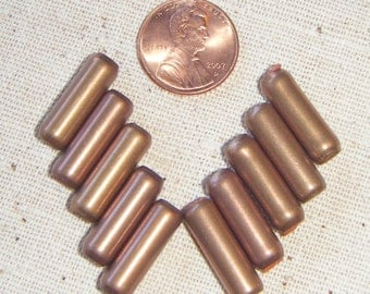 Vintage Bronze Capsule Beads with Rubber insert (10) Industrial, Mod, Deco