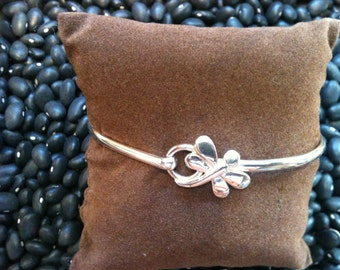 Sterling Silver Dragonfly set on 3mm Sterling Silver bangle bracelet.