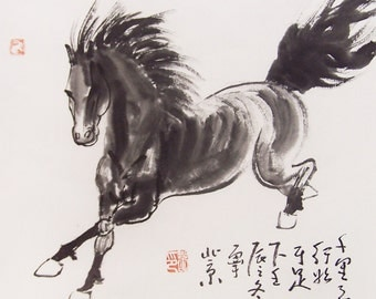 original horse painting chinese painting ink painting  oriental art chinese art -galloping horse No.3