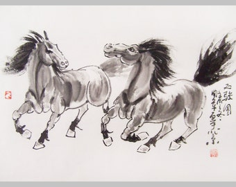 original horse painting chinese painting ink painting  oriental art chinese art -galloping horses No.19