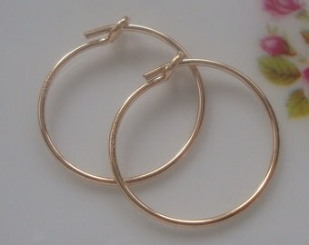 3 pairs, 15mm, 5/8 inch, 14K Gold filled 15mm Earring Hoops, Minimalist Findings