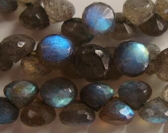 Spectacular Firey Blue Flash Labradorite Micro Faceted Onion, 8 pcs, 6.5-7mm