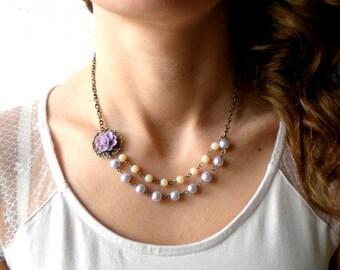 Lavender Necklace Flower Necklace Purple Bridesmaid Necklace Lavender Wedding Jewelry Lavender Pearl Necklace Purple Bridal Jewelry