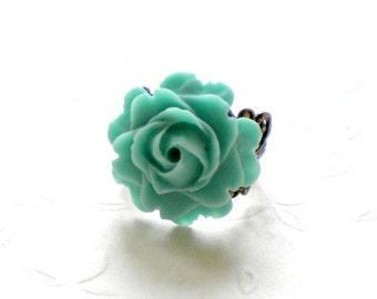 Turquoise Ring Flower Adjustable Ring Vintage Flower Cabochon Statement Turquoise Ring Rose Ring Turquoise Flower Ring