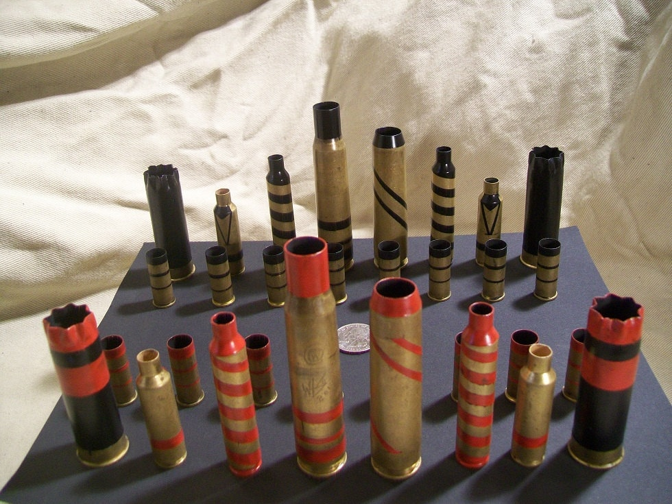 Stripe Painted Bullet Shell Chess Pieces Mixed By Oldeworldcc