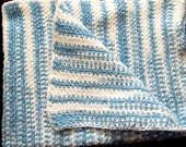 Blue & White Striped Baby Afghan - amydscrochet