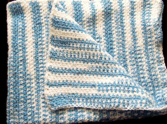 Striped Newborn Baby Afghan Blue & White Baby Blanket