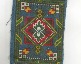 REDUCED Vintage Tobacco Felt Rugs, Three Inches X Five Inches
