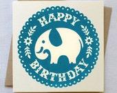Elephant Birthday Card - Hand Printed in Blue