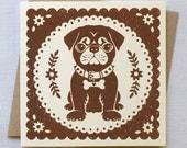 Pug Card | Pug Birthday Card | Pug Dog Blank Card | Dog Card | Pet Card
