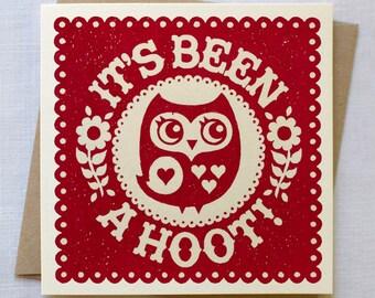 Owl Card   It's Been A Hoot Card   Goodbye Card