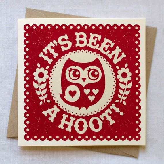 Owl Card - Hand Printed in Red