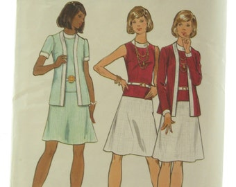 1970s Butterick 3080 Dress and Jacket Vintage Sewing Pattern Bust 36