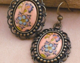 Earrings Victorian Peach Flowered Earrings, Spring Earrings, Antique Bronze Filigree Earrings, Vintage Cabochon Earrings