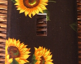 Sunflowers on Black Single Toggle Light Switch Plate Cover