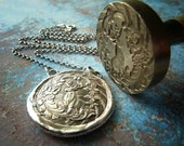 Deer Wax Seal Necklace. Monarch of the Glen. Wax Seal Fine Silver Jewelry. Large Pendant. Stag.