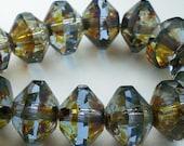 Light Sapphire Blue Saucer Beads Picasso Czech Glass Beads 11x7mm Faceted 8 pcs. S-095