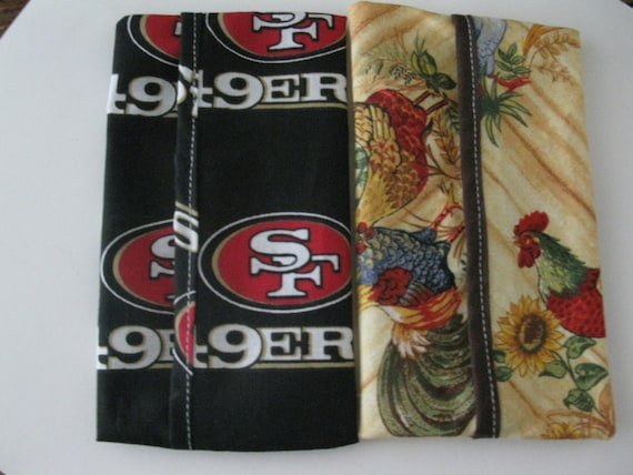 Pocket Tissue Covers- Rooster and NFL Tissue holder- Fabric Tissue Covers