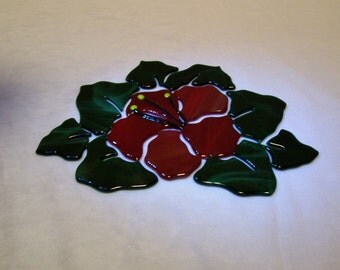 Red Hibiscus, Hibiscus Mosaic, Fused Glass
