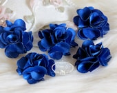 NEW: 5 pcs 24mm KOBALT Royal Blue Teeny Tiny Small Puffy Satin Flowers. applique hair bow, hair accessories
