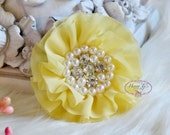 New to Shop Reilly Collection: 2 pcs LIGHT YELLOW Soft Chiffon Ruffled Fabric Flowers w/ Rhinestones Pearls - Layered Bouquet fabric flowers