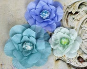 NEW: Prima Akran - Taj Blue 567064 Soft Layered Fabric Flowers with Beaded Cluster on the Center