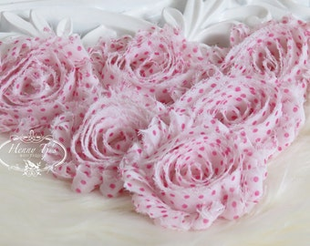Set of 6 Shabby Frayed Vintage look Chiffon Rosette Flowers - White with Hot Pink Polka Dots