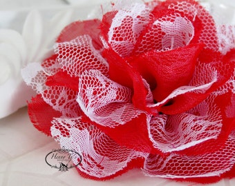 "NEW : 2 pieces 3.5"" Shabby Chic Frayed Chiffon Mesh and Lace Rose Fabric Flower - Red w/ White lace"