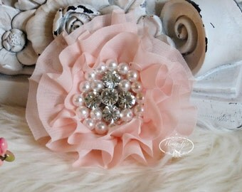 New: Reilly Collection, 2 pcs BABY PEACH Soft Chiffon Ruffled Fabric Flowers w/ Rhinestones Pearls - Layered Bouquet fabric flowers