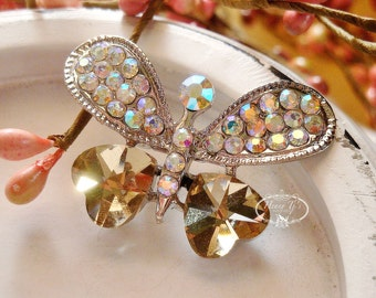 2 pcs - 41mm Silver Metal Plated Rhinestone Crystal Butterfly Brooch Pin Embellishments - wedding dress Bouquet Cake Hair Comb Decoration