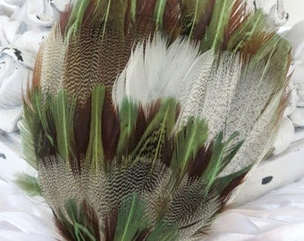 Combination SAge Green Goose Feathers (FPI76) w/ Natural Brown Almond Pheasant Feather Pad - Green Feather Pad - Millinery
