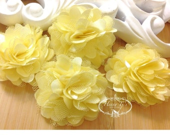 4 pcs - LIGHT YELLOW Tiny Size Petite Satin and Tulle Puff Mesh Flowers without hair clip wedding bridal bridesmaid brooch flowers.