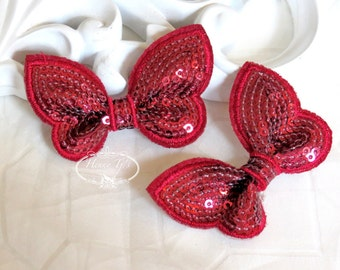New: Set of 4 BURGUNDY SEQUIN Butterfly BOW Appliques 2.25 inch size. Sequin Bow Knot Applique.