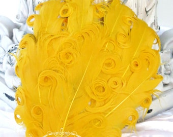 Yellow GOLD Nagorie Feather Pad (028) -Mustard Yellow Feather Pad - Curly Feathers - Goose Feather Pad, Applique