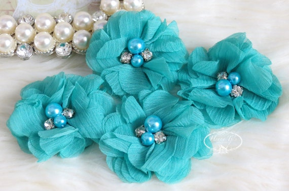 "NEW: 4 pcs Aubrey Dark AQUA Blue - 2"" Soft Chiffon with pearls and rhinestones Mesh Layered Small Fabric Flowers, Hair accessories"