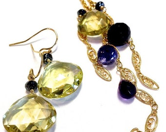 Multi gemstone necklace and earring SET,gemstone necklace, gemstone earrings, black spinel, iolite, amethyst, lemon quartz, necklace