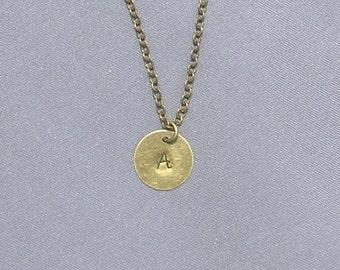 Antique Bronze Initial A Necklace
