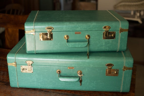 Vintage Set of Aqua Green Towncraft Suitcases with Keys - Photography Prop