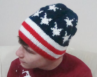 American Flag Hat / Beanie / Winter Accessories / Red White and Blue /Teens, Women or Mens teen boy gift Fourth of July gift