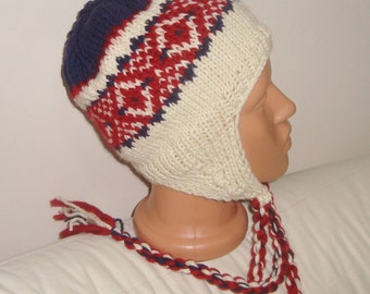 Wool earflap hat hand knitted hat man hat, red blue cream