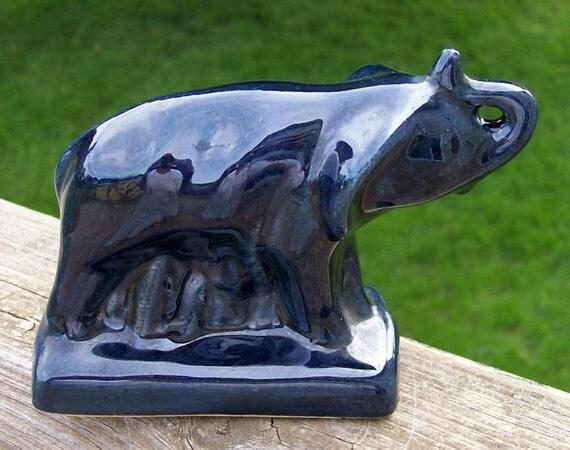 Vintage Signed Anna Van Briggle Colorado Springs Cobalt Dark Blue Elephant Pottery Figure Produced 1954 to 1968