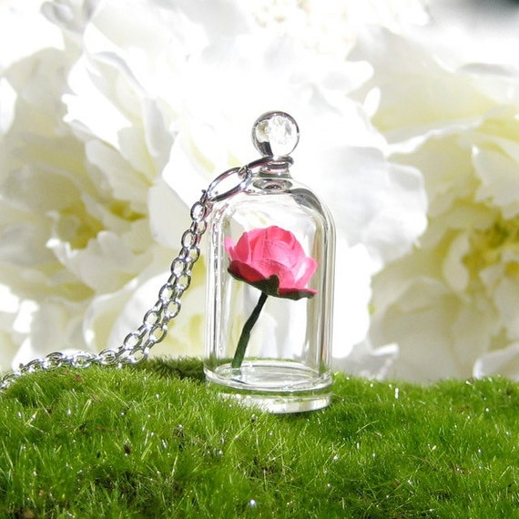 Bright Pink Rose in a Bell Jar Terrarium Necklace / Pendant