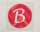 Custom Luggage Tag Chevron Bag Tag Pink Chevron Bag Tag Circle Bag Tag Initial ID Badge Girl Baby Shower Party Favor