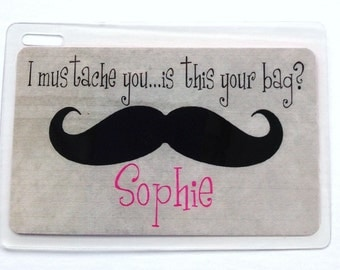 Mustache Bag Tag Mustage Luggage Tag Mustache Party Favors Mustache Gift Tag Mustache Gift Bag Tag Kids Bag Tag