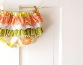 Ruffle Butt Diaper Cover Bloomer- Vintage Citrus Floral- Lemon Yellow-3m 6m 12m 18m- Baby Shower Gift- Baby Spring Fashion- Recycled