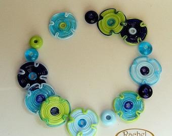 Lampwork Flower Glass Beads, FREE SHIPPNG, Handmade Disc Beads Set in Blue and Green, Rachelcartglass